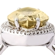 Picture of 09442: Radiant Lemon Quartz Marquise Ring with Cubic Zirconia Halo in Sterling Silver