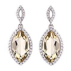 Picture of 09441: Dazzling Marquise Cut Lemon Quartz Drop Earrings with Twinkling Cubic Zirconia Detail