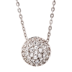 Picture of 09775: Sterling Silver Round Sparkling White Necklace with Microset Cubic Zirconia