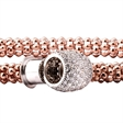 Picture of 10110: Amore Polished Rose Gold Mesh Bracelet with Sparkling White Cubic Zirconia Silver Barrel Clasp