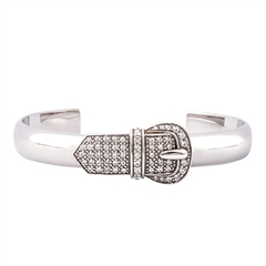Picture of 08519: Sterling Silver Polished Bangle with Lovely Belt Buckle Design and White Cubic Zirconias
