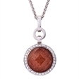 Picture of 09268: Glittering Copper Coloured Sandstone Sterling Silver Necklace with White Cubic Zirconia Halo