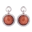Picture of 09266: Sterling Silver Circle Earrings with Shimmering Copper Sandstone and White Cubic Zirconia Halo