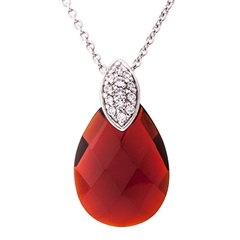 Picture of 09803: Radiant Red Pear Shaped Sterling Silver Necklace with White Cubic Zirconia Bail