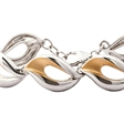 Picture of 09953: Elegant Two Tone Sterling Silver Bracelet with Curving Leaf Style Pattern