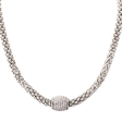 Picture of 10112: Stylish Sterling Silver Mesh Necklace with Magnetic White Cubic Zirconia Clasp