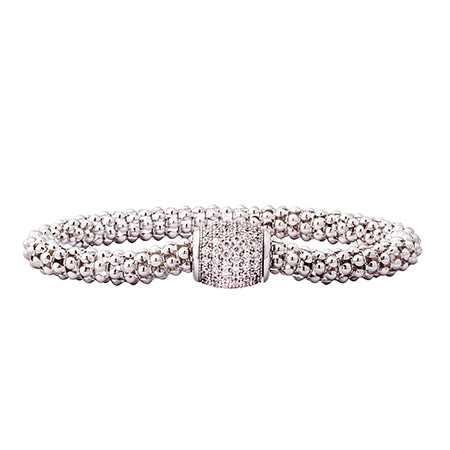 Picture of 10109: Glamorous Sterling Silver Mesh Finish Bracelet with White Cubic Zirconia Hidden Magnetic Clasp
