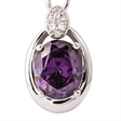 Picture of 09009: Oval Shaped Sterling Silver Interlinking Necklace with Oval Amethyst and White Cubic Zirconia
