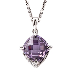 Picture of 09007: Sterling Silver Square Shaped Necklace with Claw Set Purple Amethyst and White Cubic Zirconia