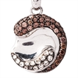 Picture of 07617: Shining Sterling Silver Yin and Yang Style Necklace with Brown and White Cubic Zirconia