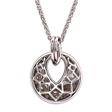 Picture of 10373: Gorgeous Polished Sterling Silver Disc Necklace with Cut Out Detail and Glittering White Cubic Zirconias