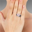 Picture of 09199: Curving Pink and Black Enamel Sterling Silver Dress Ring with White Cubic Zirconias