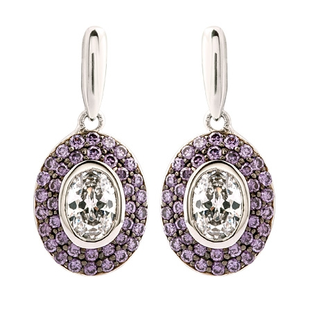 Picture of 09194: Oval Shaped Purple Amethyst and White Cubic Zirconia Stud Earrings