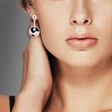 Picture of 09202: Swirling Sterling Silver Black and Pink Enamel Drop Earrings with White Cubic Zirconia