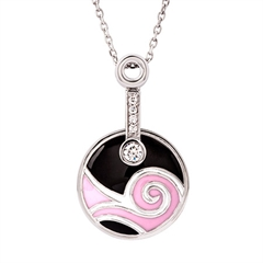 Picture of 09203: Black and Pink Enamel Swirling Sterling Silver Necklace with White Cubic Zirconias