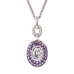 Picture of 09195: Glittering Sterling Silver Oval Pendant with Rich Purple Amethyst and White Cubic Zirconia