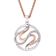 Picture of 10224: Sweeping Circular Rose Gold and Sterling Silver Necklace with Cubic Zirconias