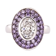 Picture of 09193: Sparkling Purple Amethyst and White Cubic Zirconia Oval Shaped Sterling Silver Dress Ring