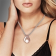 Picture of 09292: Pretty Rose Gold and Sterling Silver Sweeping Curved Pendant with White Pearl and Cubic Zirconias