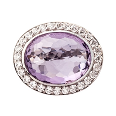 Picture of 09466: Stunning Sterling Silver Amethyst Dress Ring With White Cubic Zirconia Halo