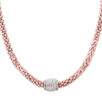 Picture of 10114: Sterling Silver and Rose Gold Mesh Style Necklace with White Cubic Zirconia Magnetic Clasp