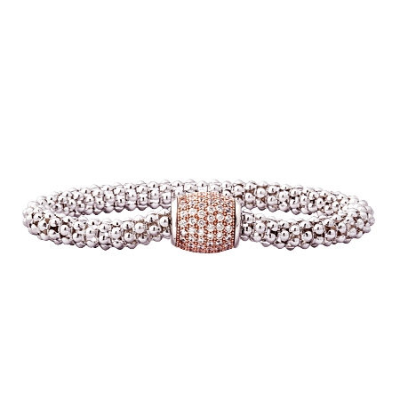 Picture of 10111: Mesh Style Sterling Silver Bracelet with Rose Gold Barrel Shaped Magnetic Clasp