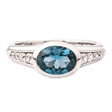 Picture of 10387: Pretty Sterling Silver Oval Blue Stone Ring with White Cubic Zirconia Set Band
