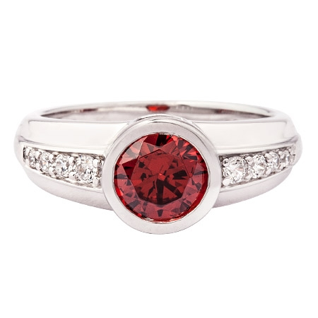 Picture of 10395: Pretty Sterling Silver Round Red Stone Ring with White Cubic Zirconia Microset Band