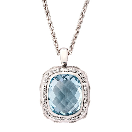 Picture of 09378: Sterling Silver Blue Topaz Cushion Shaped Necklace with White Cubic Zirconia Halo