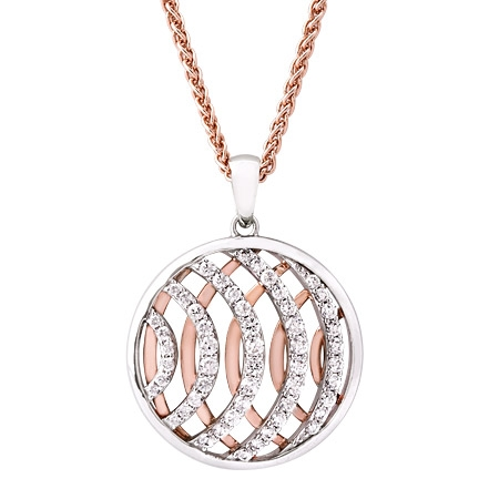 Picture of 10227: Round Sterling Silver and Rose Gold Necklace with Bands of White Cubic Zirconia