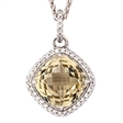 Picture of 09502: Quartz Gemstone Yellow Soft Square Pendant in Sterling Silver with Cubic Zirconia
