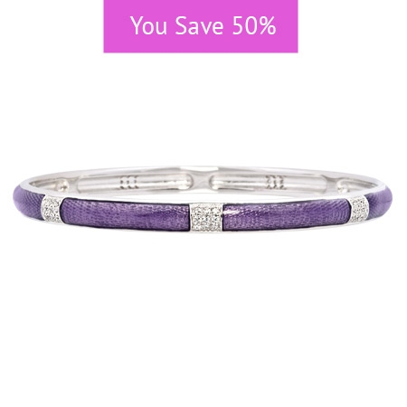 Picture of 08857: Simple Stylish White Cubic Zirconia Banded Stacking Bangle With A Scored Purple Enamel Finish