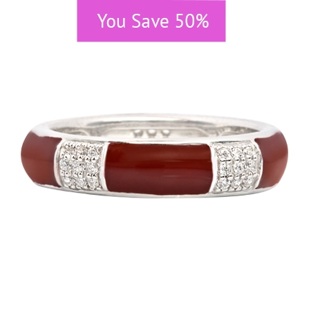 Picture of 08840: Simple Stylish White Cubic Zirconia Banded Stacking Ring With A Smooth Red Enamel Finish