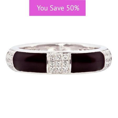 Picture of 08841: Gorgeous Smooth Black Enamel Segmented Stacking Ring with Rows of White Cubic Zirconias