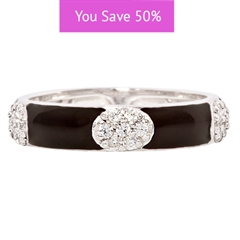 Picture of 08843: Beautiful Glossy Black Enamel Stacking Ring in Sterling Silver with Ovals of Cubic Zirconias