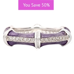 Picture of 08850: Gorgeous Purple Segmented Stacking Ring with Linework Texture and Rows of Sparkling White Cubic Zirconias