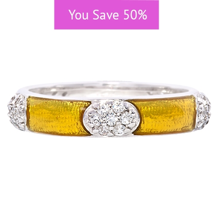 Picture of 08846: Bright Yellow Snakeskin Enamel Stacking Ring in Sterling Silver with Ovals of Cubic Zirconias