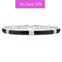 Picture of 08860: Stunning White Cubic Zirconia Banded Stacking Bangle In Smooth Black Enamel Finish