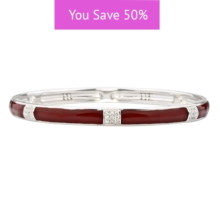 Picture of 08858: Simple Stylish White Cubic Zirconia Banded Stacking Bangle In Smooth Red Enamel Finish