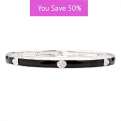 Picture of 08861: Gorgeous Black Stacking Bangle in Smooth Enamel with White Cubic Zirconia Oval Details