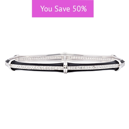 Picture of 08866: Gorgeous Stacking Bangle in Smooth Black Enamel with Segmented Rows of White Cubic Zirconias