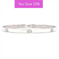 Picture of 08863: Delicate White Stacking Bangle in Smooth Enamel with Shining White Cubic Zirconia Oval Details