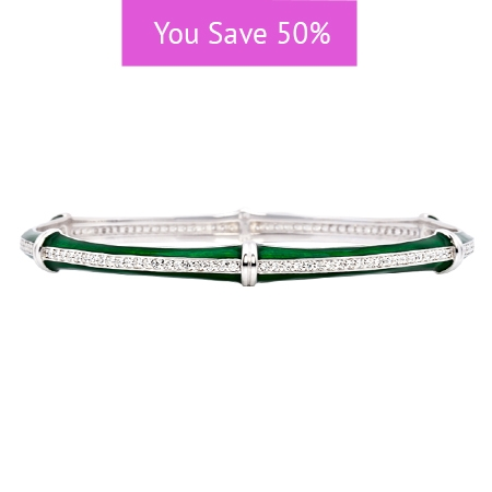 Picture of 08865: Delicate Green Stacking Bangle in Lined Enamel with Segmented Rows of White Cubic Zirconias
