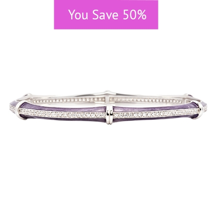 Picture of 08868: Delicate Purple Stacking Bangle in Lined Enamel with Segmented Rows of White Cubic Zirconias