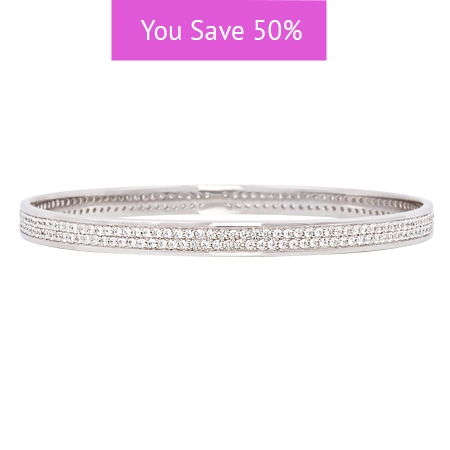 Picture of 08869: Pretty Simple Sterling Silver Stacking Bangle With Twin Rows of Sparkling White Cubic Zirconias