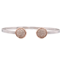 Picture of 09662: Amore Cubic Zirconia Torc Style Bangle Bracelet with Polished Rose Gold Plating in Sterling Silver
