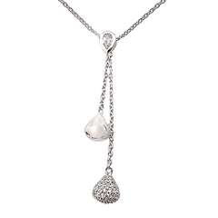 Picture of 10975: Pear Cut Tear Drop Necklace in Sterling Silver with White Cubic Zirconia